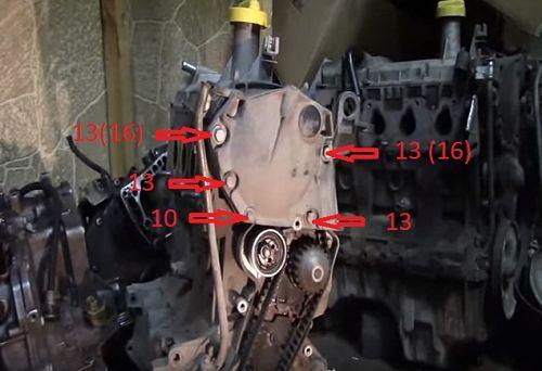 демонтаж крышки привода газораспределительного механизма