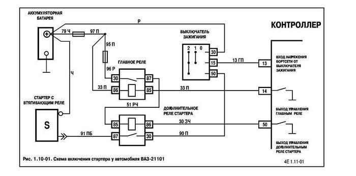 схема подключения дополнительного реле ваз 2110