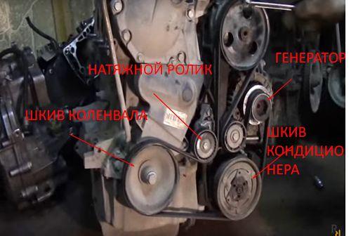шкив кондиционера и коленвала, натяжной ролик генератора