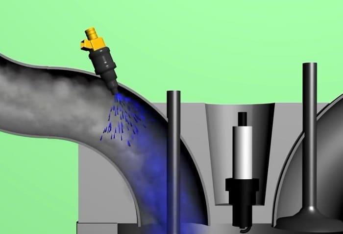 впрыск топлива с воздухом в цилиндр