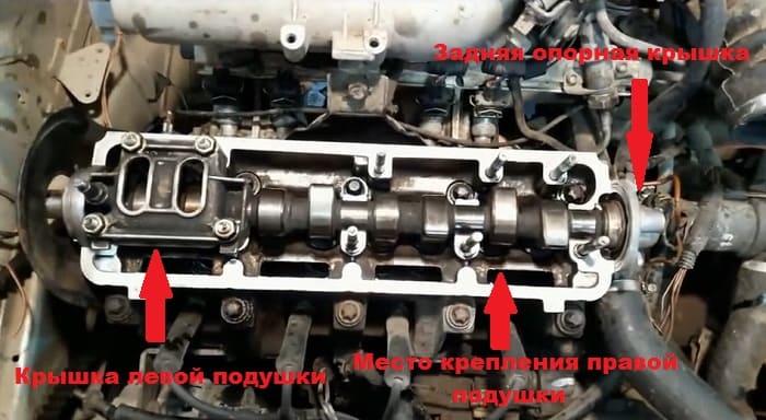 распредвал в двигателе со снятой крышкой клапанов